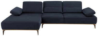 WOHNLANDSCHAFT in Blau Textil - Blau/Beige, Natur, Textil/Metall (178/298cm) - VALNATURA