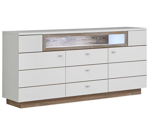 SIDEBOARD matt Weiß, Kieferfarben  - Alufarben/Weiß, KONVENTIONELL, Holz/Metall (180/85/41,6cm) - Hom`in