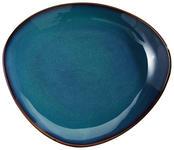 Steinzeug  DESSERTTELLER  dreieckig  - Blau, Trend, Keramik (21/18/2,7cm) - Landscape