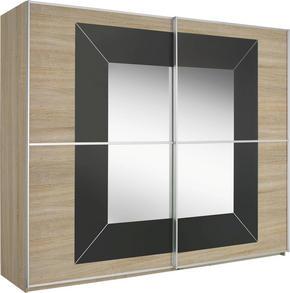 SKJUTDÖRRSGARDEROB - mörkgrå/Sonoma ek, Design, metall/glas (316/236/69cm) - Cantus