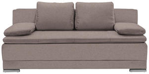 SCHLAFSOFA in Textil Hellbraun  - Chromfarben/Hellbraun, MODERN, Kunststoff/Textil (200/100/97,5cm) - Carryhome