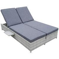 DOPPELLIEGE Aluminium Pulverbeschichtet Kunststoffgeflecht Grau   Grau,  Design, Kunststoff/Textil (120/ ...
