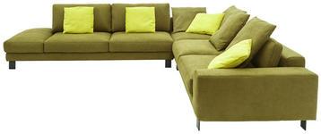 WOHNLANDSCHAFT in Textil Olivgrün - Chromfarben/Olivgrün, Design, Textil/Metall (343/316cm) - Dieter Knoll
