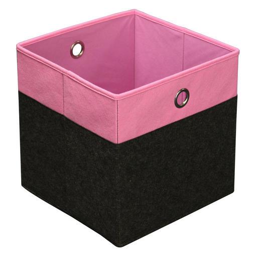 FALTBOX Karton, Metall, Textil Anthrazit, Rosa - Anthrazit/Rosa, Design, Karton/Textil (32/32/32cm) - Carryhome