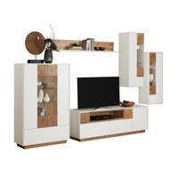 WOHNWAND in Weiß, Eichefarben  - Eichefarben/Weiß, Design, Glas/Holzwerkstoff (328/184,4/40,4cm) - Carryhome