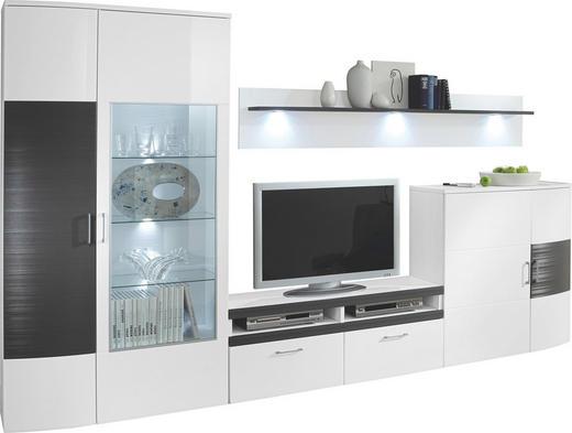 WOHNWAND Graphitfarben, Weiß - Silberfarben/Graphitfarben, Design, Glas/Holz (340/205/40cm) - Xora