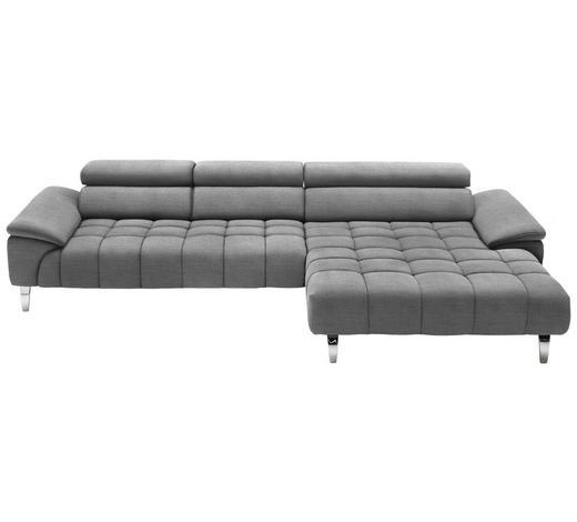 WOHNLANDSCHAFT in Textil Silberfarben, Hellgrau  - Chromfarben/Silberfarben, Design, Textil/Metall (329/190cm) - Beldomo Style