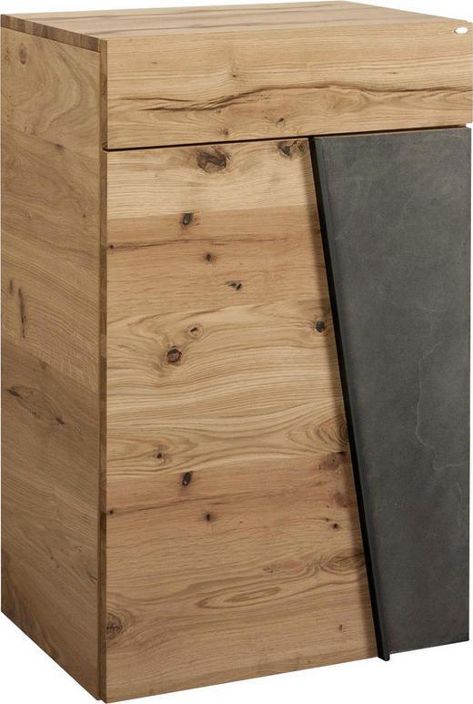 SCHUHSCHRANK Eiche furniert, mehrschichtige Massivholzplatte (Tischlerplatte) Eichefarben, Grau - Eichefarben/Grau, Design, Holz/Stein (64,2/98/42,5cm) - Voglauer