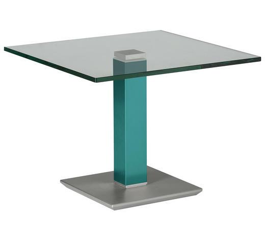 BEISTELLTISCH in Metall, Glas 60/60/46-65 cm - Türkis/Edelstahlfarben, Design, Glas/Kunststoff (60/60/46-65cm)