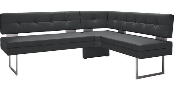ECKBANK 200/158 cm  in Grau, Edelstahlfarben  - Edelstahlfarben/Grau, Design, Textil/Metall (200/158cm) - Dieter Knoll