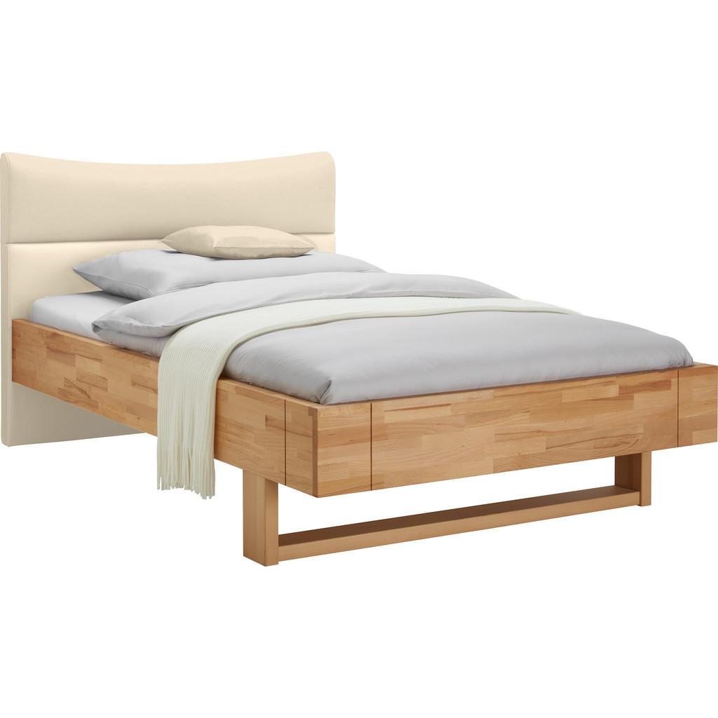 Bett 120 Cm X 200 Cm In Holz, Textil Buchefarben, Creme