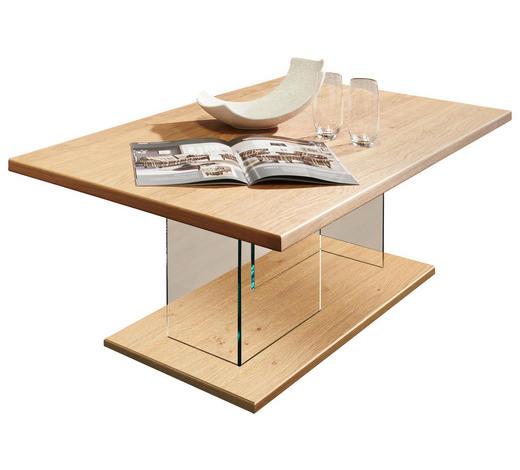 COUCHTISCH in Holz, Glas, Holzwerkstoff 120/70/44 cm - Eichefarben/Nickelfarben, KONVENTIONELL, Glas/Holz (120/70/44cm) - Voleo