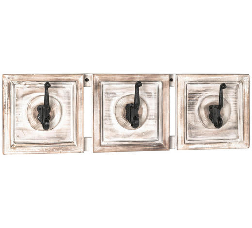 GARDEROBENLEISTE Tanne massiv Schwarz, Weiß, Hellbraun  - Hellbraun/Schwarz, Trend, Holz/Metall (58/18/9cm)