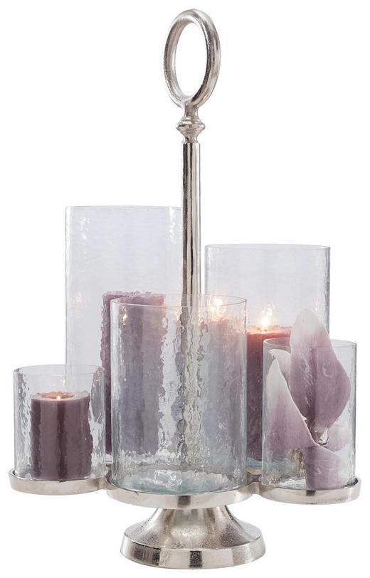 WINDLICHT - Klar/Nickelfarben, Basics, Glas/Metall (46/38/65cm) - Ambia Home