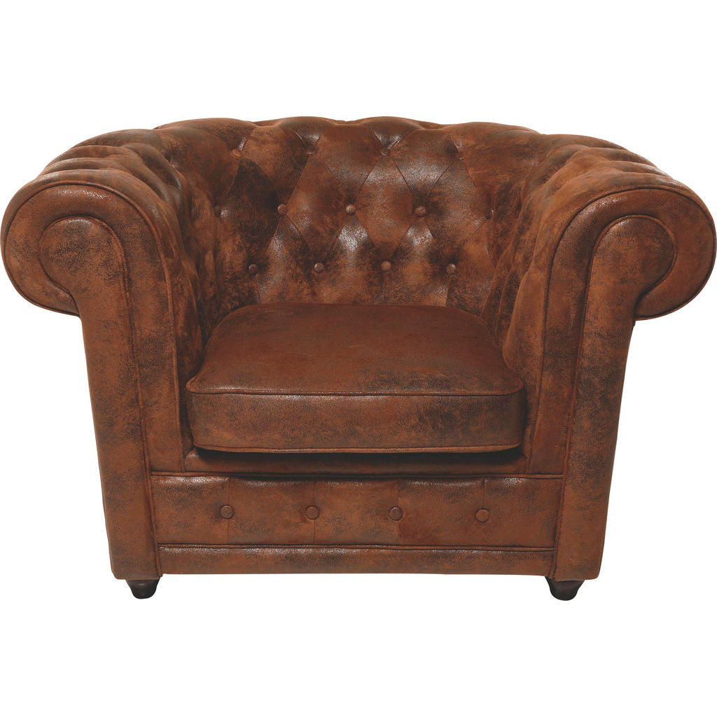 Kare-Design Chesterfield Sessel Mikrofaser Braun | Wohnzimmer > Sessel > Chesterfield Sessel | Textil | Kare-Design