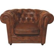 Chesterfield Sessel Lederlook Braun    - Dunkelbraun/Braun, Design, Holz/Textil (115/76/92cm) - Kare-Design