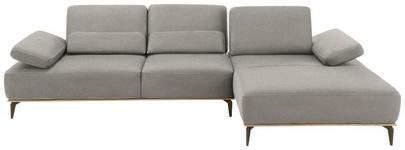 WOHNLANDSCHAFT Grau Mikrofaser  - Beige/Bronzefarben, Design, Textil/Metall (298/178cm) - Valnatura