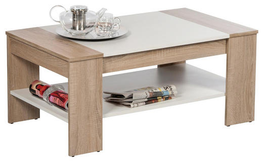 COUCHTISCH rechteckig Eichefarben, Weiß - Eichefarben/Weiß, Design (100/58/44cm) - Carryhome