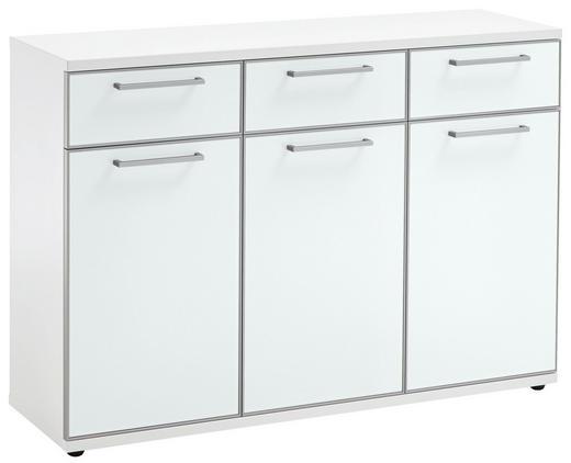 KOMMODE Weiß - Chromfarben/Schwarz, Design, Glas/Holzwerkstoff (125/87/39cm)