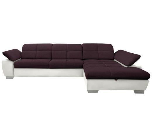 WOHNLANDSCHAFT in Textil Beige, Violett - Chromfarben/Beige, Design, Textil/Metall (297/204cm) - Xora