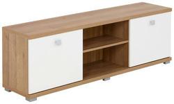 TV-ELEMENT Eichefarben, Weiß - Eichefarben/Alufarben, Design, Kunststoff/Metall (150/48,3/35,7cm) - Voleo