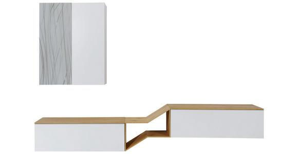 WOHNWAND in Eichefarben, Grau, Weiß - Eichefarben/Weiß, Design, Glas/Holz (300/187/47cm) - Dieter Knoll