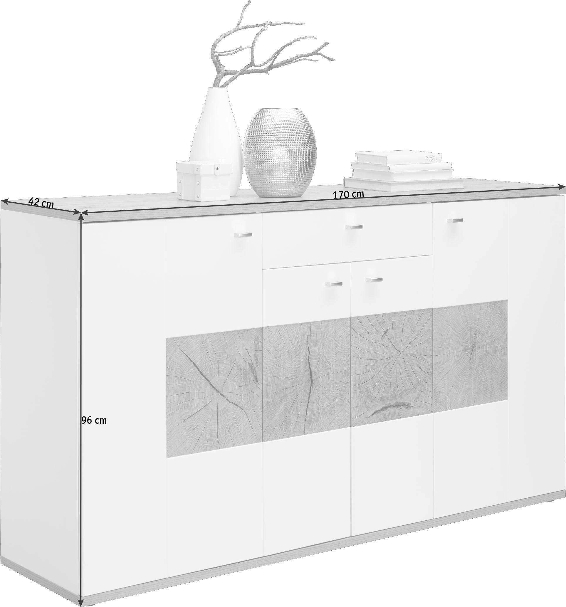 KOMODA SIDEBOARD - bílá/barvy stříbra, Design, kov/dřevěný materiál (170/96/42cm) - HOM IN