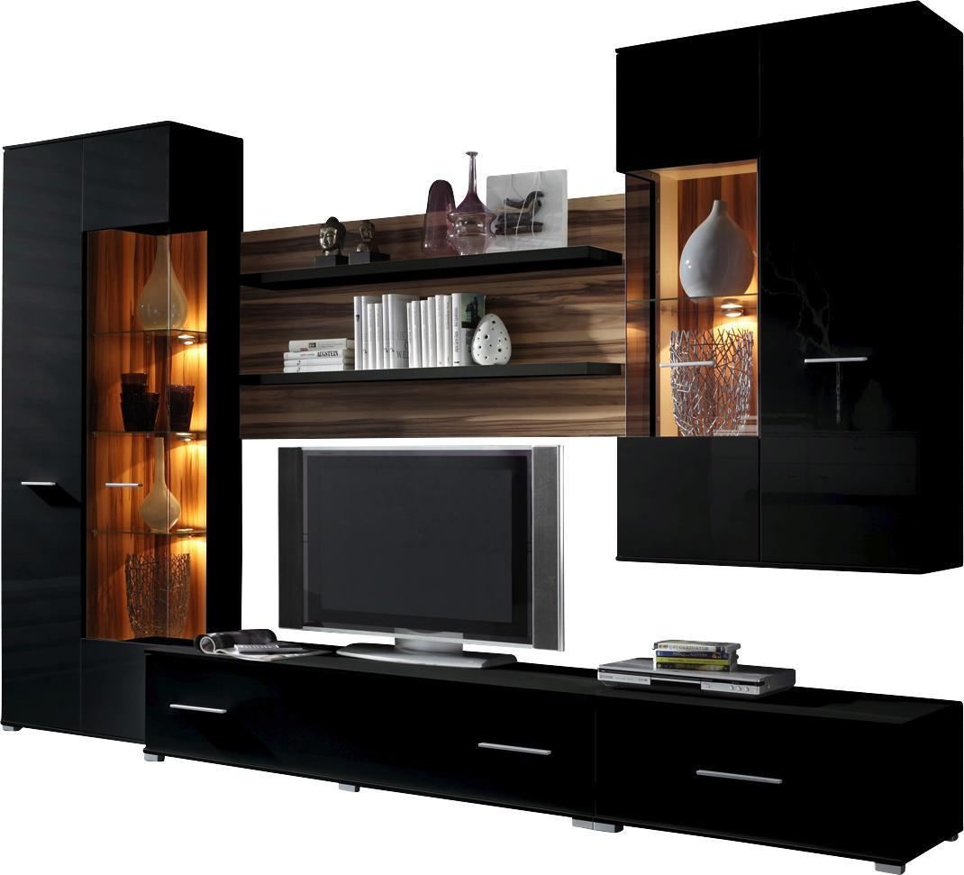 WOHNWAND Nussbaumfarben, Schwarz   Silberfarben/Nussbaumfarben, Design,  Glas/Holz (300