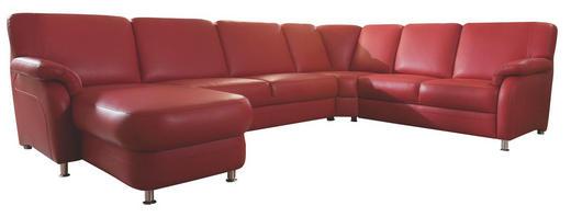 WOHNLANDSCHAFT Echtleder Rot - Rot/Alufarben, KONVENTIONELL, Leder/Metall (165/329/239cm) - Beldomo Premium