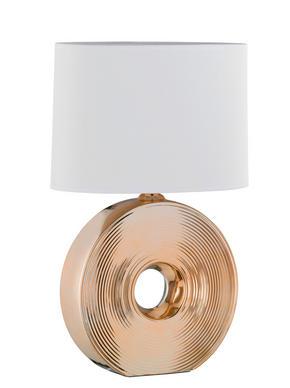 BORDSLAMPA - vit/guldfärgad, Klassisk, textil/keramik (54cm)