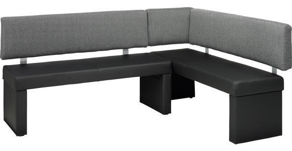 ECKBANK 148/196 cm  in Grau, Schwarz  - Schwarz/Grau, KONVENTIONELL, Textil/Metall (148/196cm) - Carryhome