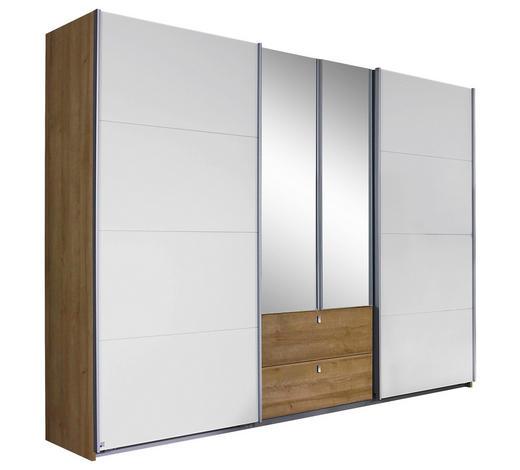 KLEIDERSCHRANK in Weiß, Eichefarben - Eichefarben/Alufarben, Design, Glas/Holzwerkstoff (271/210/62cm) - Carryhome