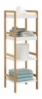 Badezimmerregal - Naturfarben/Weiß, Konventionell, Holz/Holzwerkstoff (36/110/33cm) - Xora