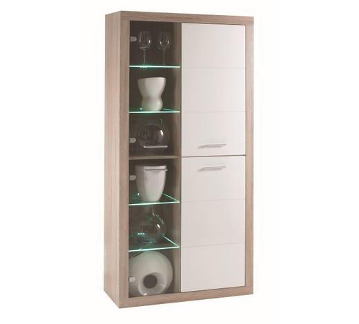 VITRINA - bijela/boje hrasta, Design, staklo/drvni materijal (92/194/37cm) - Xora