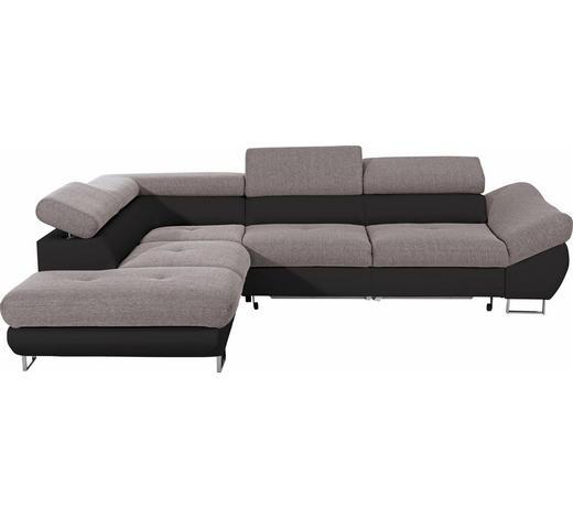 WOHNLANDSCHAFT in Textil Grau, Schwarz - Chromfarben/Schwarz, Design, Textil/Metall (235/280cm) - Hom`in