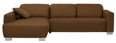 WOHNLANDSCHAFT in Textil Braun - Chromfarben/Braun, Design, Holz/Textil (195/296cm) - Hom`in