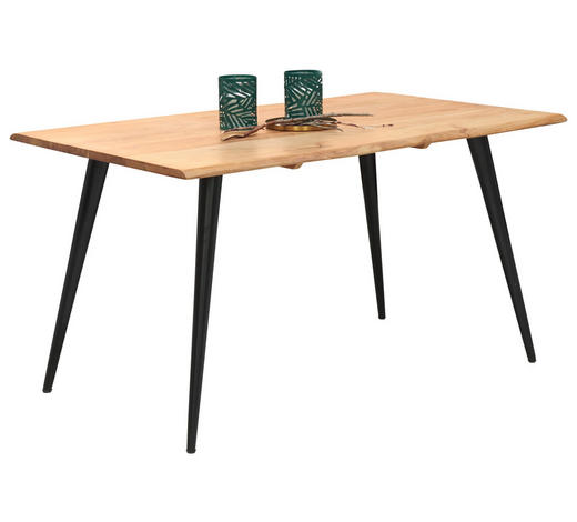 Esstisch in massiv Akazie Schwarz, Akaziefarben - Schwarz/Akaziefarben, Design, Holz/Metall (140/90/76cm) - Carryhome