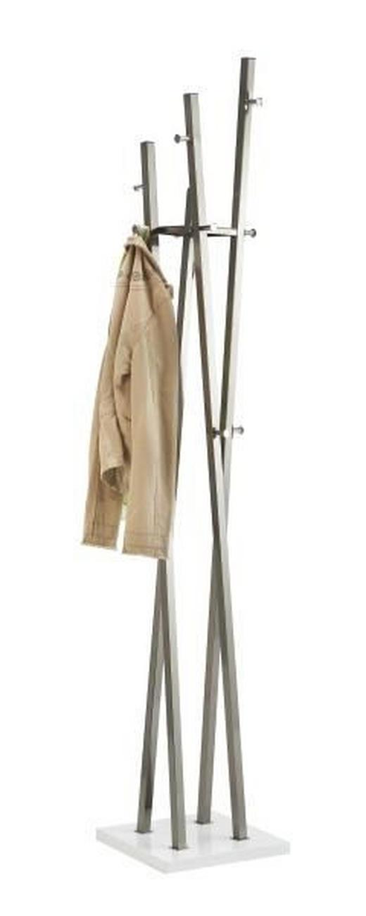 ŠATNÍ STOJAN - bílá/barvy niklu, Design, kov/dřevo (35/193/35cm)