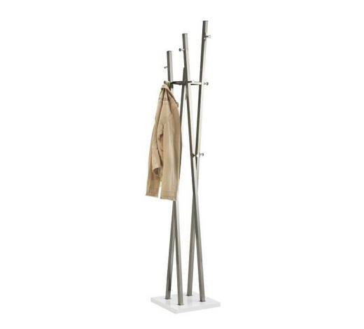 VJEŠALICA SAMOSTOJEĆA bijela, boje nikla  drvo, metal   - bijela/boje nikla, Design, drvo/metal (35/193/35cm)