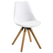STUHL Lederlook Weiß - Eichefarben/Weiß, Design, Holz/Kunststoff (48/82/56cm) - CARRYHOME