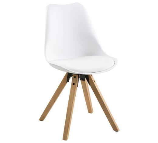 STUHL Lederlook Weiß, Eichefarben - Eichefarben/Weiß, Design, Holz/Kunststoff (48/82/56cm) - Carryhome