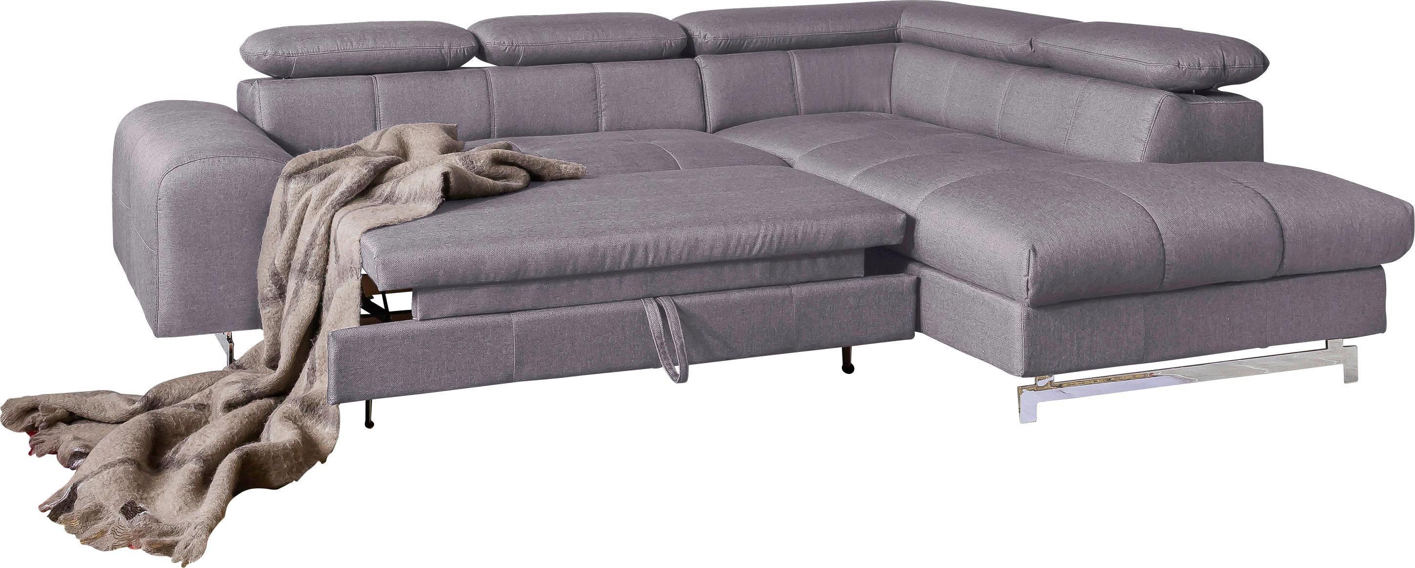 WEBSTOFF ECKSOFA Webstoff Bettkasten, Rücken echt, Schlaffunktion Grau - Chromfarben/Grau, Trend, Textil (262/92/206cm) - CARRYHOME
