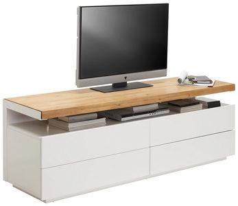 MEDIABÄNK - vit/ekfärgad, Design, trä/träbaserade material (170/57/47cm) - Novel