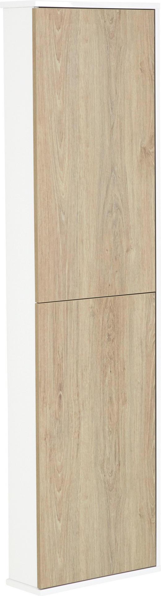 HOCHSCHRANK - Eichefarben/Weiß, Design, Holzwerkstoff (40/140/14cm)