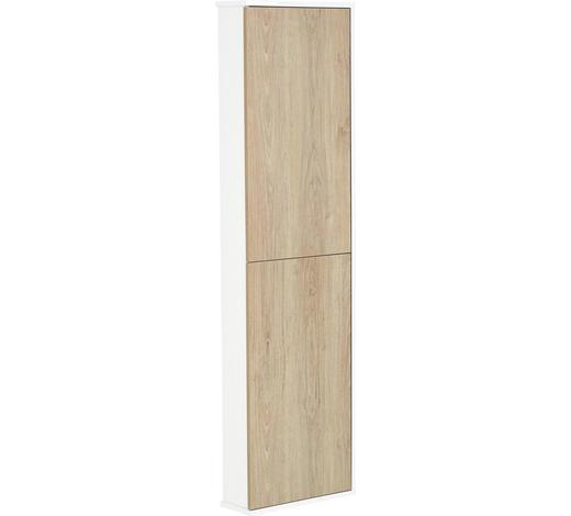 HOCHSCHRANK 40/140/14 cm  - Eichefarben/Weiß, Design, Holzwerkstoff (40/140/14cm)