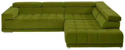 WOHNLANDSCHAFT in Textil Grün - Chromfarben/Grün, Design, Textil/Metall (323/222cm) - Beldomo Style