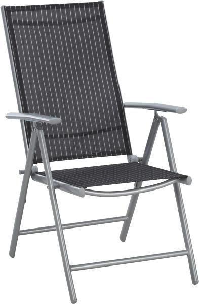 GARTENKLAPPSESSEL Aluminium Schwarz, Silberfarben, Weiß - Silberfarben/Schwarz, Design, Textil/Metall (56/106/64cm) - XORA