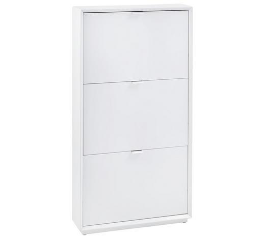 SCHUHSCHRANK 64,5/121,5/18 cm - Edelstahlfarben/Weiß, Design, Holzwerkstoff/Metall (64,5/121,5/18cm) - Xora