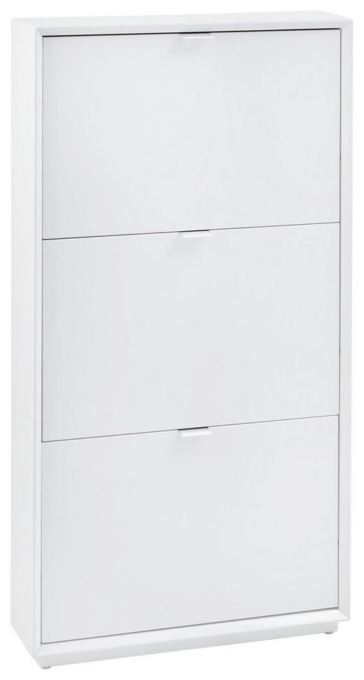 SCHUHSCHRANK Hochglanz Edelstahlfarben, Weiß - Edelstahlfarben/Weiß, Design, Metall (64,5/121,5/18cm) - Xora