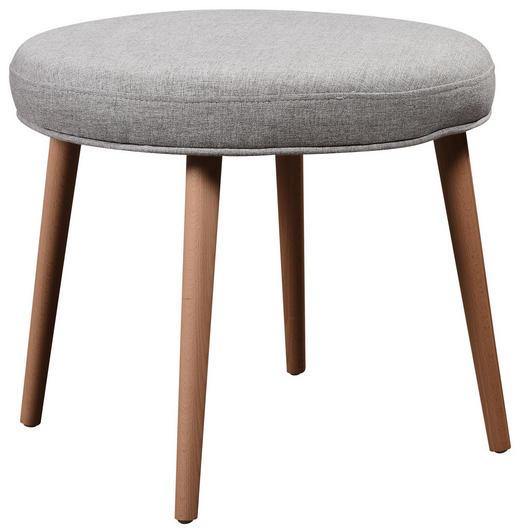 HOCKER in Holz, Textil Grau, Naturfarben, Hellgrau - Blau/Hellgrau, Design, Holz/Textil (55/45cm) - Carryhome